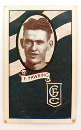 1933 ALLENS ALLEN'S FOOTBALLERS TRADING CARD. GEELONG , F HAWKING CARD 107