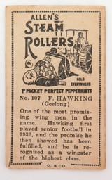 1933 ALLENS ALLEN'S FOOTBALLERS TRADING CARD. GEELONG , F HAWKING CARD 107