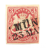 1867 BAVARIA, GERMAN STATES 3Kr IMPERF MUNICH ?? CANCEL. NICE GRADE, HINGED.