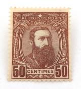 1887 BELGIUM ETAT INDEPENDANT DU CONGO 50 CENTIMES MH. NICE GRADE.