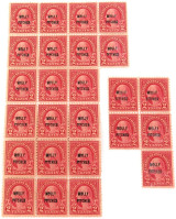 "25 x 1928 SCOTTS #646 2 CENT ""MOLLY PITCHER"" OVERPRINT MINT MNH U.S. STAMPS."