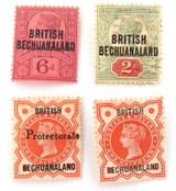 BRITISH BECHUANALAND c1898 4 QV OVERPRINT STAMPS. 3 ARE MINT. ALL NICE GRADE