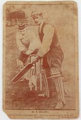 c1900 - 1910. SEPIA STYLE CRICKET THEME POSTCARD. KENDAL UK.