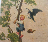 EARLY 1900s RUSSIAN EMBOSSED COMICAL POSTCARD BY DEGI. RAVEN MOTHER NO 925