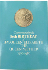 1980 QUEEN MOTHER UK 1 POUND COMMEMORATIVE COIN, MINT IN PACK