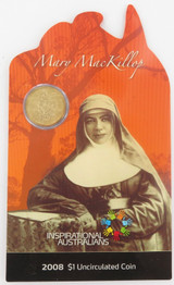 2008 MARY MacKILLOP $1 UNC. SCARCE / COLLECTABLE ON ORIGINAL CARD.