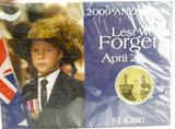 2009 ANZAC DAY $1 UNC COIN PACK. MINT IN UNOPENED SLEEVE.