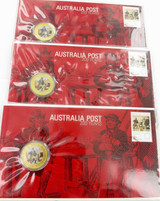 """3 x 2009 COLOURED UNC $1 COIN PNC FDC. """"AUSTRALIA POST 200 YEARS""""."""