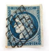 c1849 FRANCE CERES 25c BLUE IMPERF USED H, GOOD MARGINS, GRILL CANCEL NICE GRADE