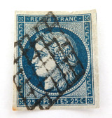 c1849 FRANCE CERES 25c BLUE IMPERF USED H, GOOD MARGINS, GRILL CANCEL NICE GRADE