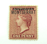 MONTSERRAT 1876 MINT QV ONE PENNY 1d MH HIGH GRADE STAMP. NICE !!