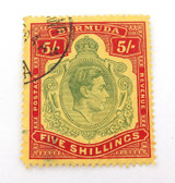 BERMUDA KGVI 1930s 5/- USED HINGED STAMP. GOOD COLOUR & GRADE.