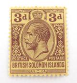 BRITISH SOLOMON ISLAND KGV 3d MH NICE GRADE STAMP.