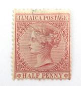JAMAICA 1880s QV 1/2d CLARET MH STAMP GRADES F / G. HALF PENNY.