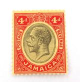 JAMAICA c1912 KGV 4d MH STAMP. NICE GRADE.