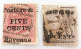 CEYLON c1880s 2 x 5c OVERPRINT QV USED HINGED STAMPS.