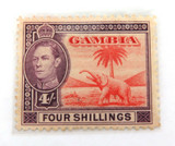 GAMBIA KGVI 1938 4/- MH STAMP. WELL CENTRED, NICE GRADE.