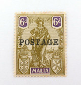"MALTA 1920s 6d MH ""POSTAGE"" OVERPRINT STAMP."