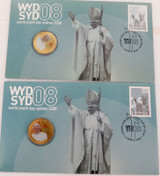 2 x 2008 WORLD YOUTH DAY / THE POPE COLOURED UNC $1 FDC PNC.