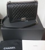 2019 Chanel Large Le Boy Black Calfskin & Ruthenium Handbag + Box & Card