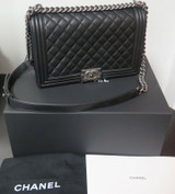2019 Chanel Large Le Boy Black Calfskin & Ruthenium Handbag + Box & Card