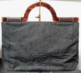 Vintage 1997-1999 Chanel Large Black Denim Tortoiseshell Hand Bag