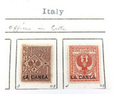 ITALY c1909 ITALIAN ITALY OFFICES in CRETE 2 MH NICE GRADE OVERPRINT STAMPS.