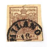 AUSTRIAN OFFICES ABROAD, LOMBARDY VENETIA IMPERF 10c UH SUPERB MILANO CANCEL