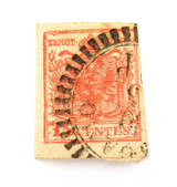 AUSTRIAN OFFICES ABROAD, LOMBARDY VENETIA IMPERF 15c UH STAMP.