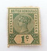 BRITISH HONDURAS QV 1c MH, NICE GRADE STAMP.