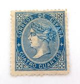 SPAIN 1867 4 CUARTOS MH STAMP.