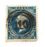 NORWAY c1856 KING OSCAR 4sk UH PERFECT CENTRED 110 TOWN CANCEL STAMP.