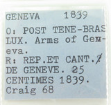 NICE GRADE 1839 GENEVA SWITZERLAND 25 CENTIMES COIN.