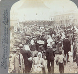 FINLAND 1897, VIBORG MARKET PLACE, UNDERWOOD STEREOVIEW CARD.