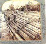 USA 1902, COLUMBIA RIVER OREGON, LOG RAFT LOGGING UNDERWOOD STEREOVIEW CARD.