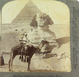 EGYPT 1902, THE GREAT SPHINX & PYRAMID, UNDERWOOD STEREOVIEW CARD.