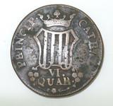 1811 CATALONIA, SPAIN 6 QUARTOS COIN.