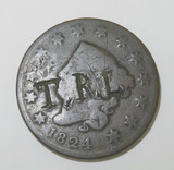 1824 USA COUNTERSTAMPED COUNTER STAMPED CORONET LIBERTY HEAD ONE CENT.