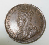 1917 CANADA ONE CENT. SUPERB HIGH GRADE 8 PEARLS & FULL CENTRE CROWN.