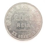HIGH GRADE EF / aUNC 1907 BRAZIL 2000 REIS SILVER COIN.