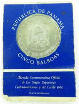 1970 REPUBLIC of PANAMA UNC STERLING SILVER 5 BALBOAS COMMEMORATIVE COIN PACK