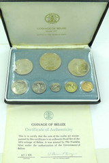 1974 BELIZE 8 COIN PROOF SET. SEALED IN ORIGINAL PACKAGING. FRANKLIN MINT.