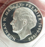 1972 JAMAICA .925% SILVER $5 PROOF + OUTER PACKET. FRANKLIN MINT