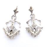 Chandelier Marcasite Moonstone Pearl Sterling Silver Earring Pendant Set 16.7g