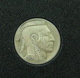 """VERY NICELY DONE, HOBO NICKEL 1936 D """"MOHAWK INDIAN"""" UNSIGNED. #12"""