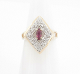 Vintage Pink Sapphire & Diamond Set 14k Yellow Gold Ladies Ring Size I Val$2280