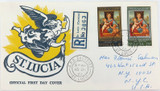 DELIGHTFUL 1967 St LUCIA REGISTERED FDC to USA. NICE CONDITION.