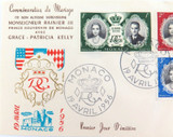 1956 MONACO FDC, MARRIAGE PRINCE RAINIER III & GRACE KELLY.