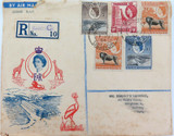 NICE CACHET 1954 QEII UGANDA KENYA TANGANYIKA REG. 2ND CLASS AIR MAIL COVER