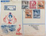 NICE CACHET 1954 QEII UGANDA KENYA TANGANYIKA REG. 2ND CLASS AIR MAIL COVER